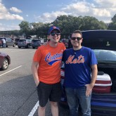 Kyle Brancato (left) and Michael Bonello (right) in the Citi Field parking lot on September 29, 2018 (Image Credit: Scott Orgera)
